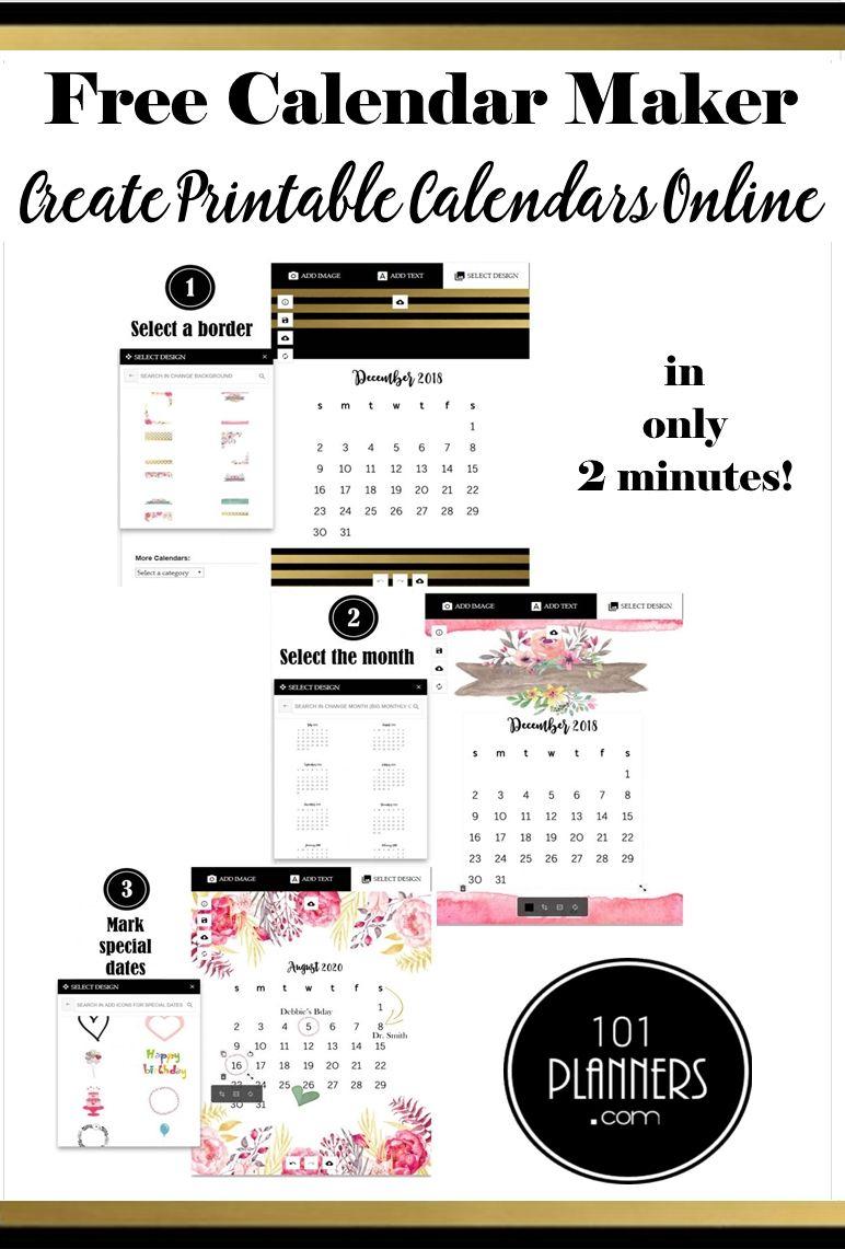 Calendar Maker | Free Calendar, Free Calendar Maker, Online