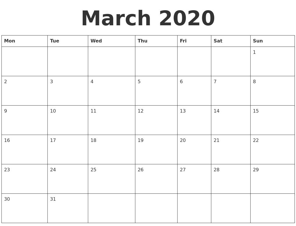 Calendar March 2020 Template - Wpa.wpart.co