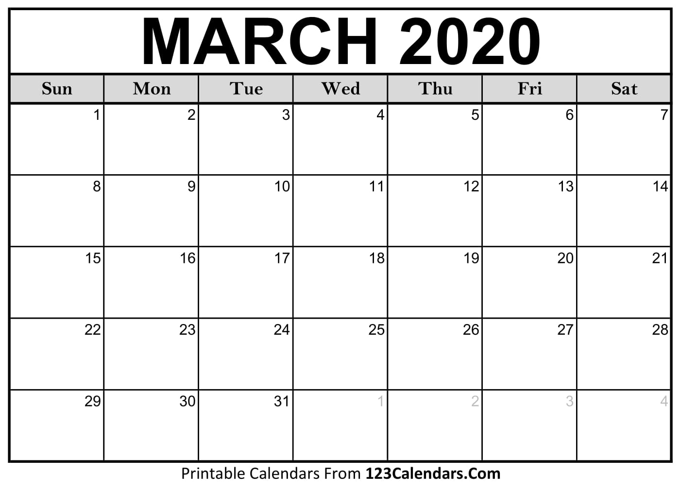 Calendar Month March 2020 - Wpa.wpart.co