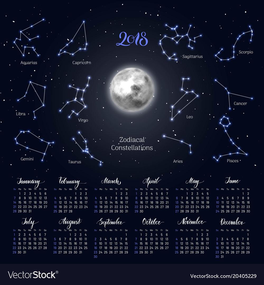 Calendar Moon Zodiac Constellations 2018 Night