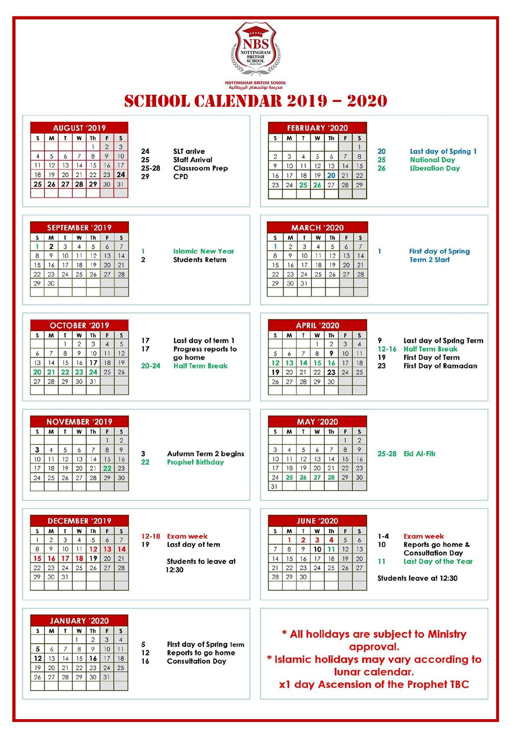 Calendar – Nbs