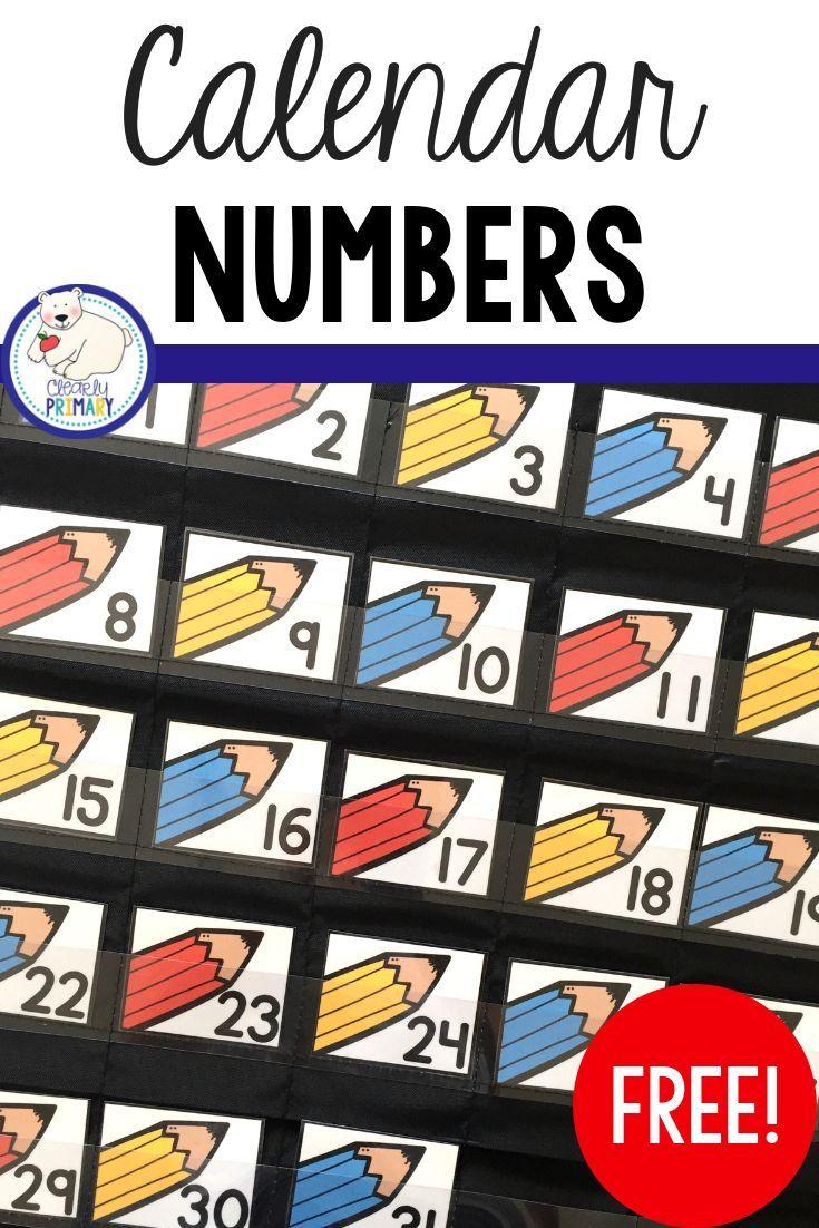 Calendar Numbers Freebie | Calendar Numbers, Kindergarten