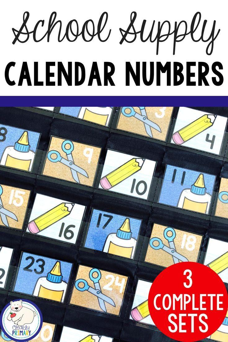 Calendar Numbers: School Supplies | Back To School