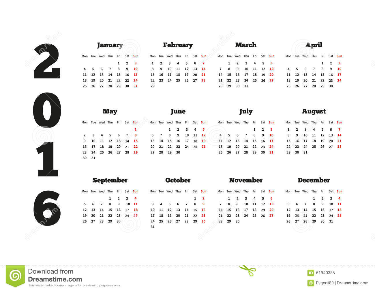 Calendar On 2016 Year With Week Starting From Stock Vector