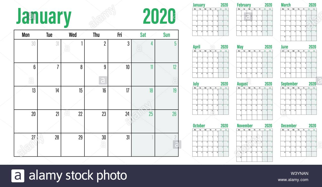 Calendar Planner 2020 Template Vector Illustration All 12