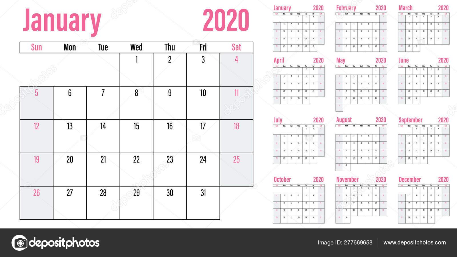 Calendar Planner 2020 Template Vector Illustration All