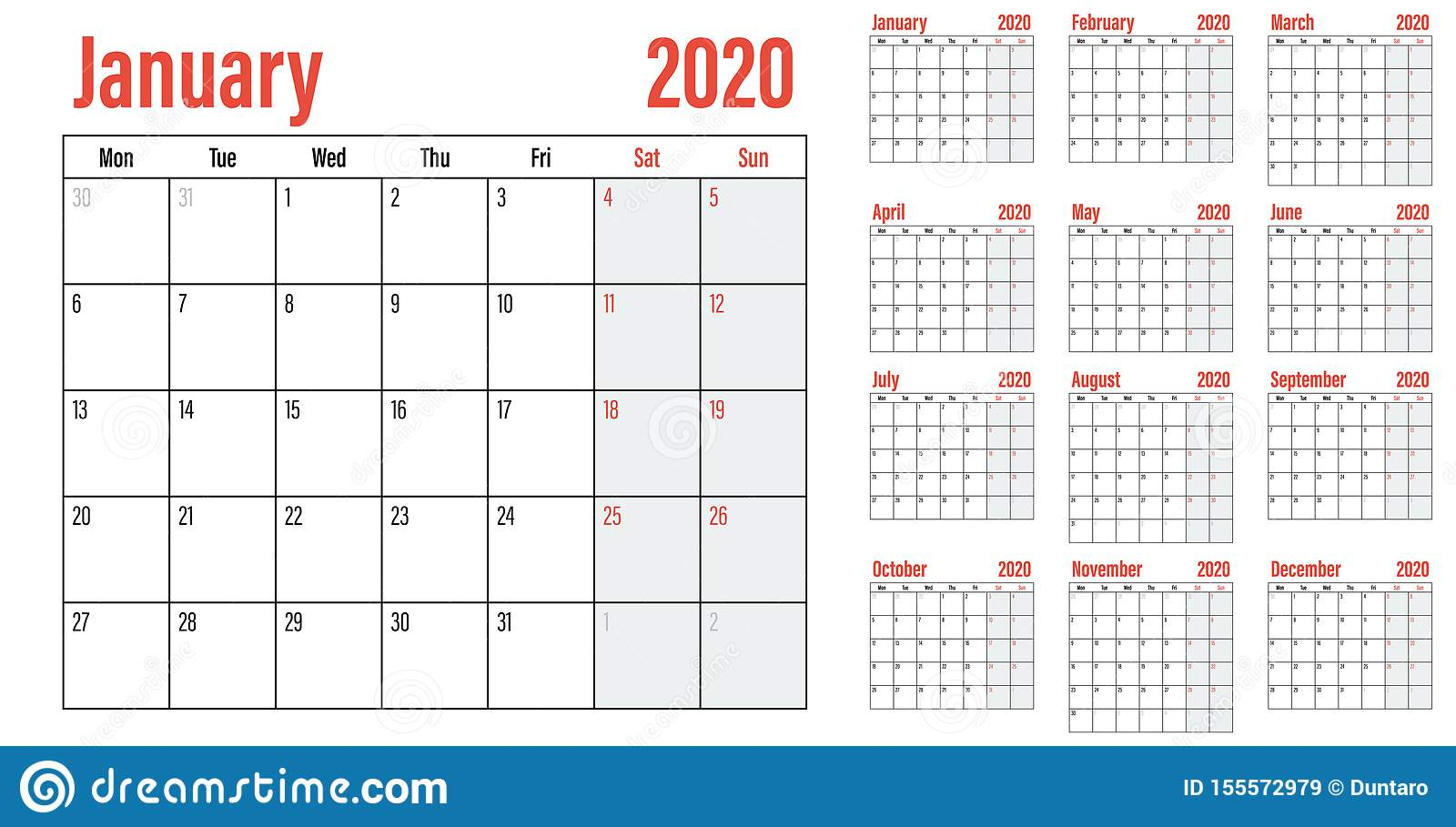 Calendar Planner 2020 Template Vector Illustration Stock