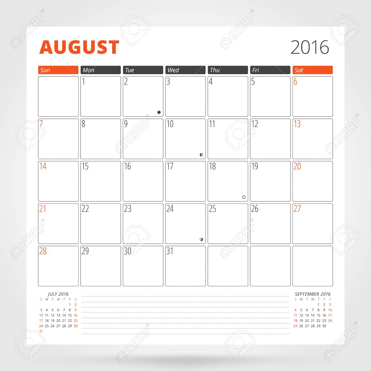 Calendar Planner For 2016 Year. August. Design Print Template..