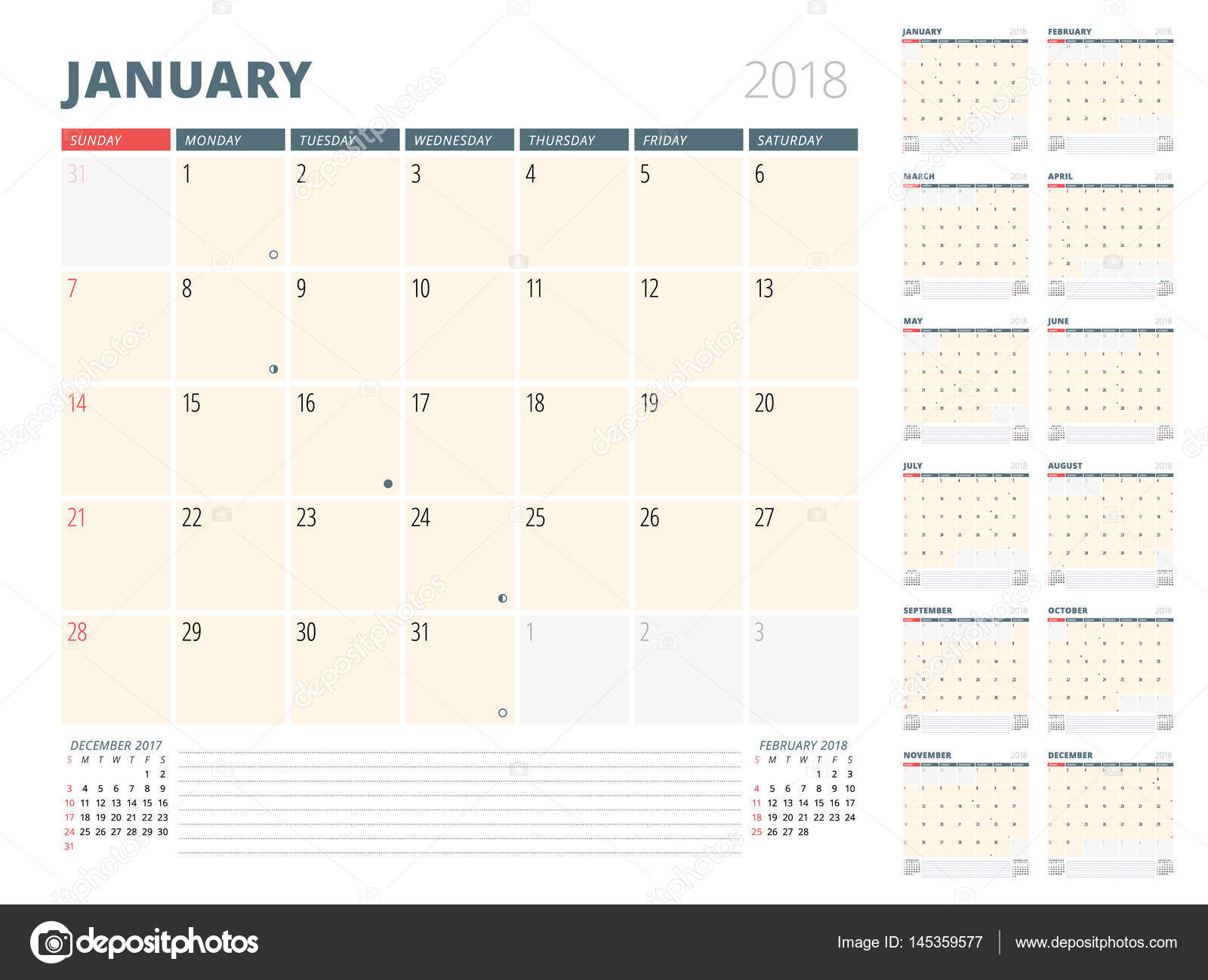 Calendar Planner For 2018 Year. Design Template. Week Starts