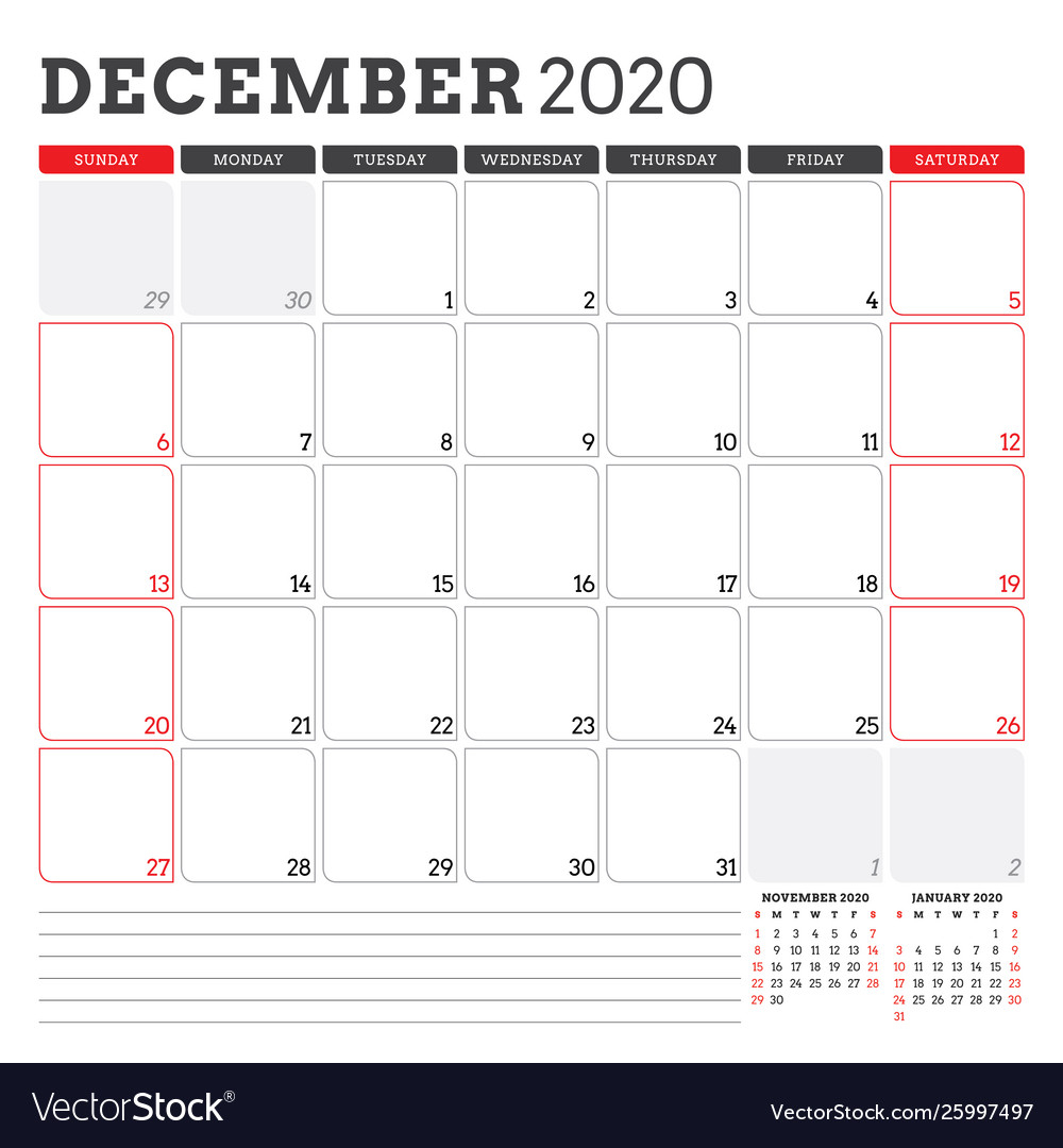Calendar Planner For December 2020 Week Starts On