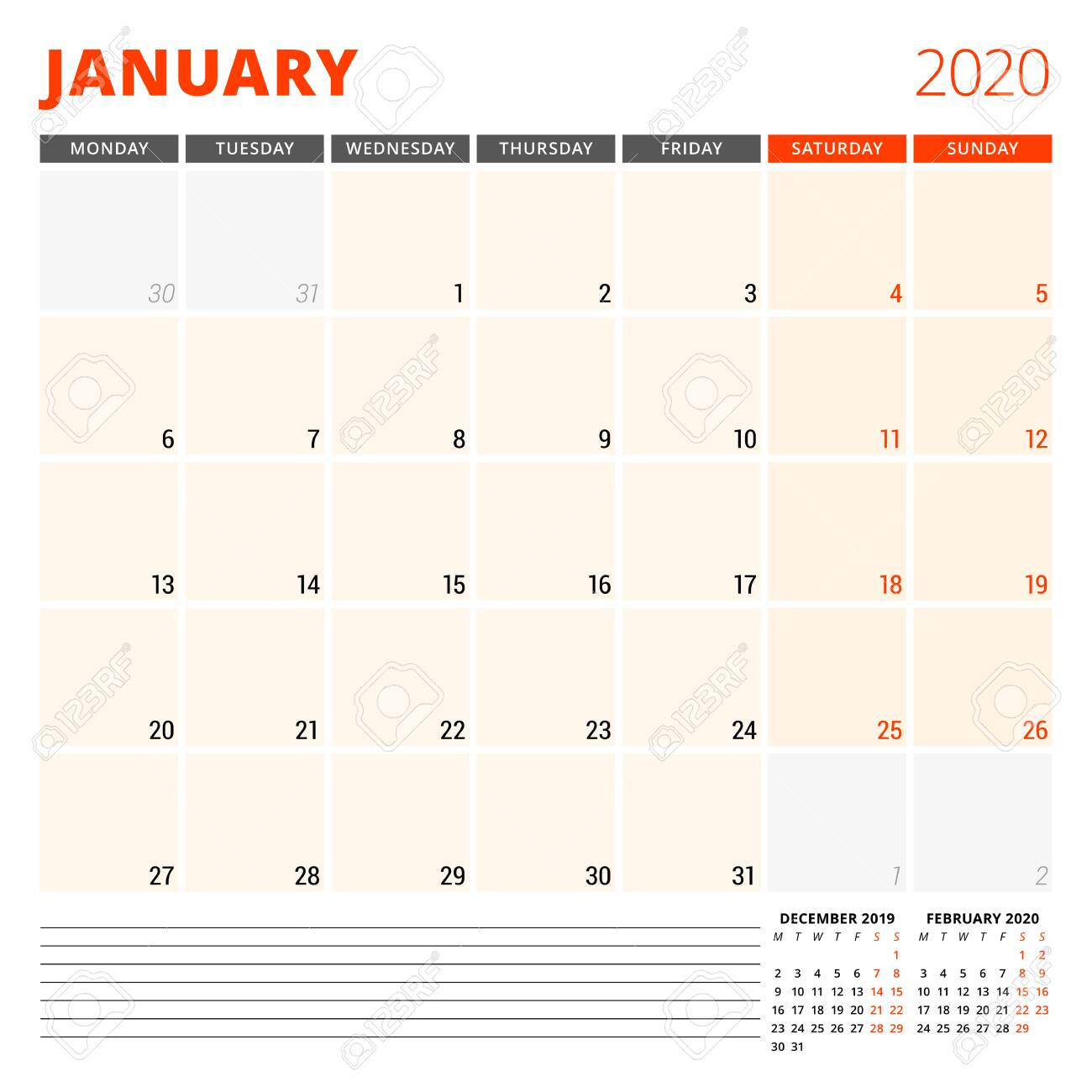 Calendar Planner For January 2020. Stationery Design Template