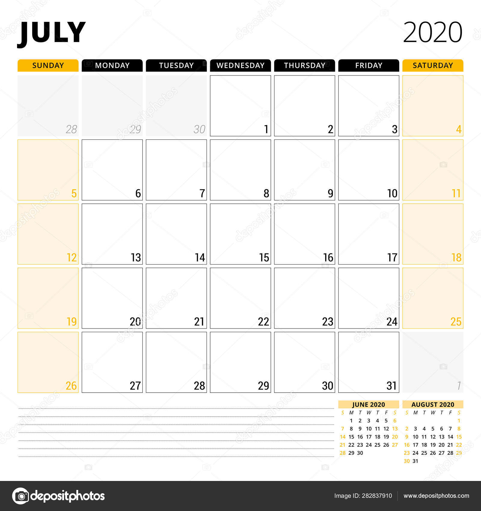 Calendar Planner For July 2020. Stationery Design Template