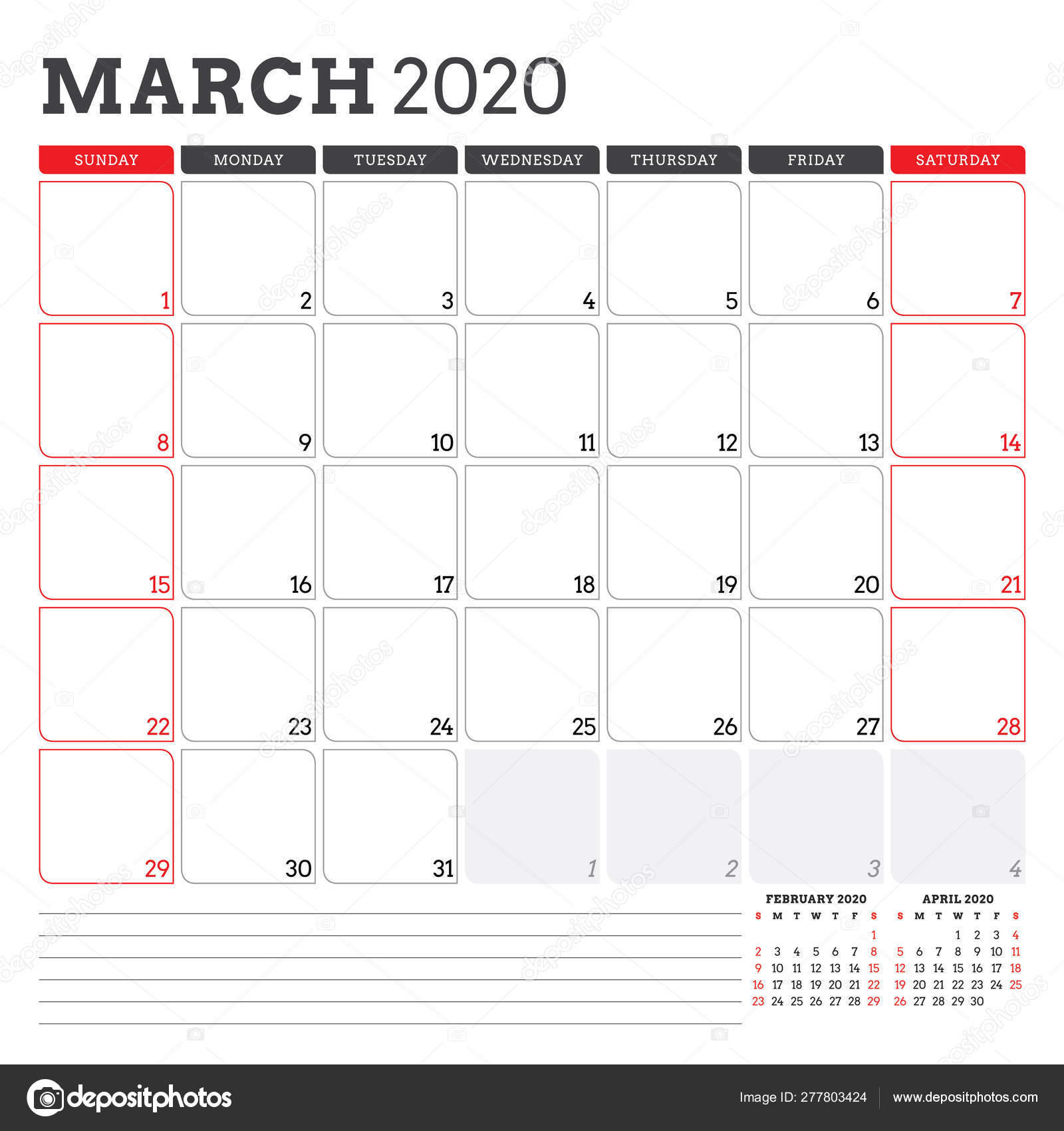 Calendar Planner For March 2020. Week Starts On Sunday