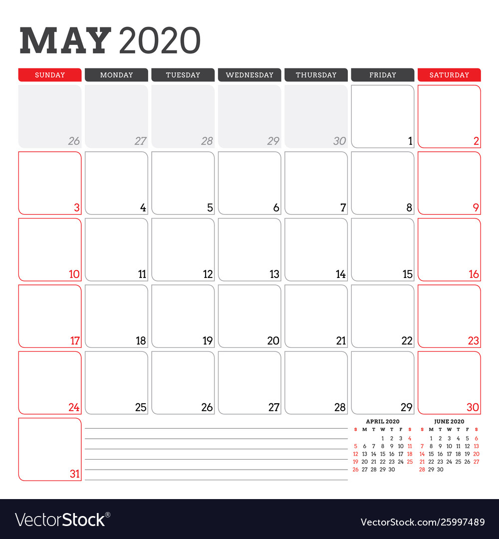 Calendar Planner For May 2020 Week Starts On