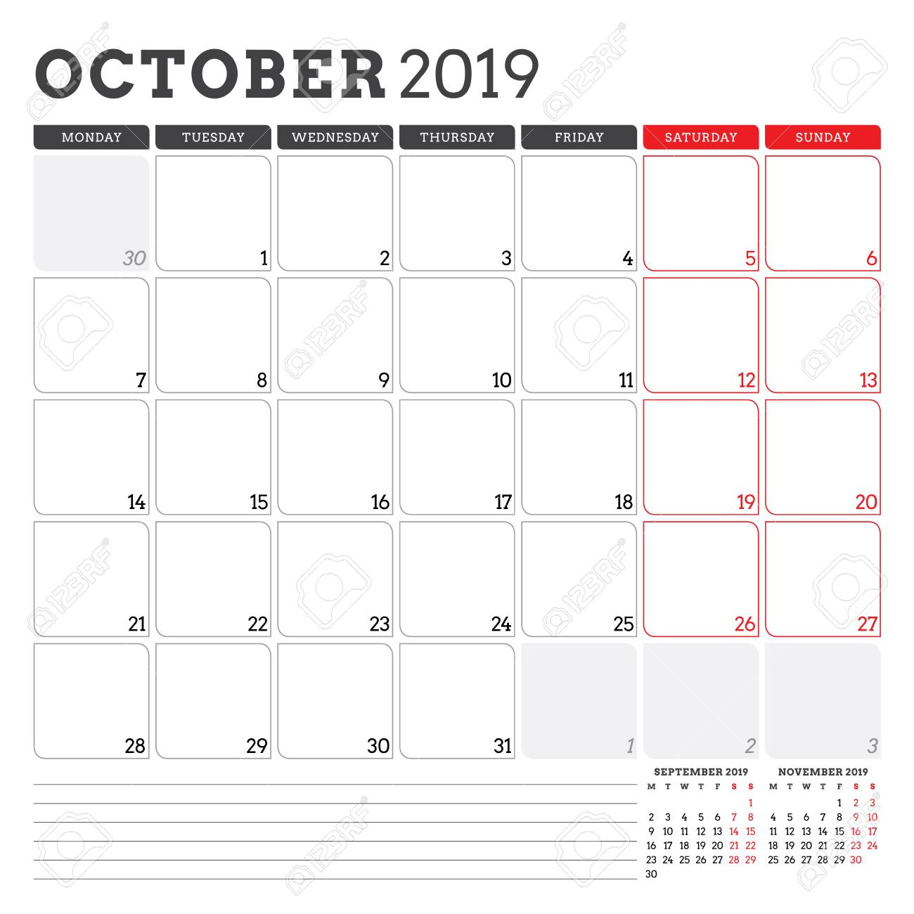 Calendar Planner For October 2019. Week Starts On Monday. Printable..