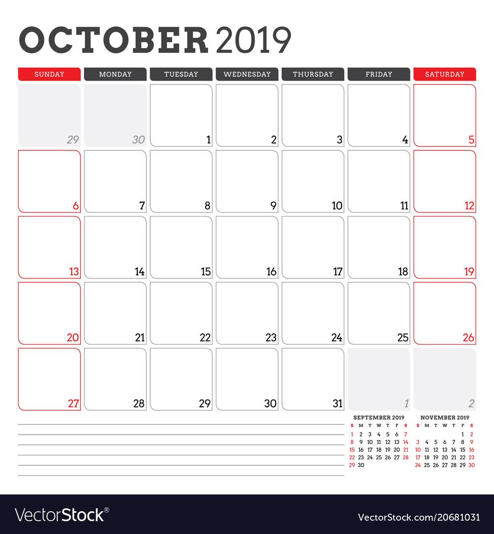 Calendar Planner For October 2019 Week Starts On