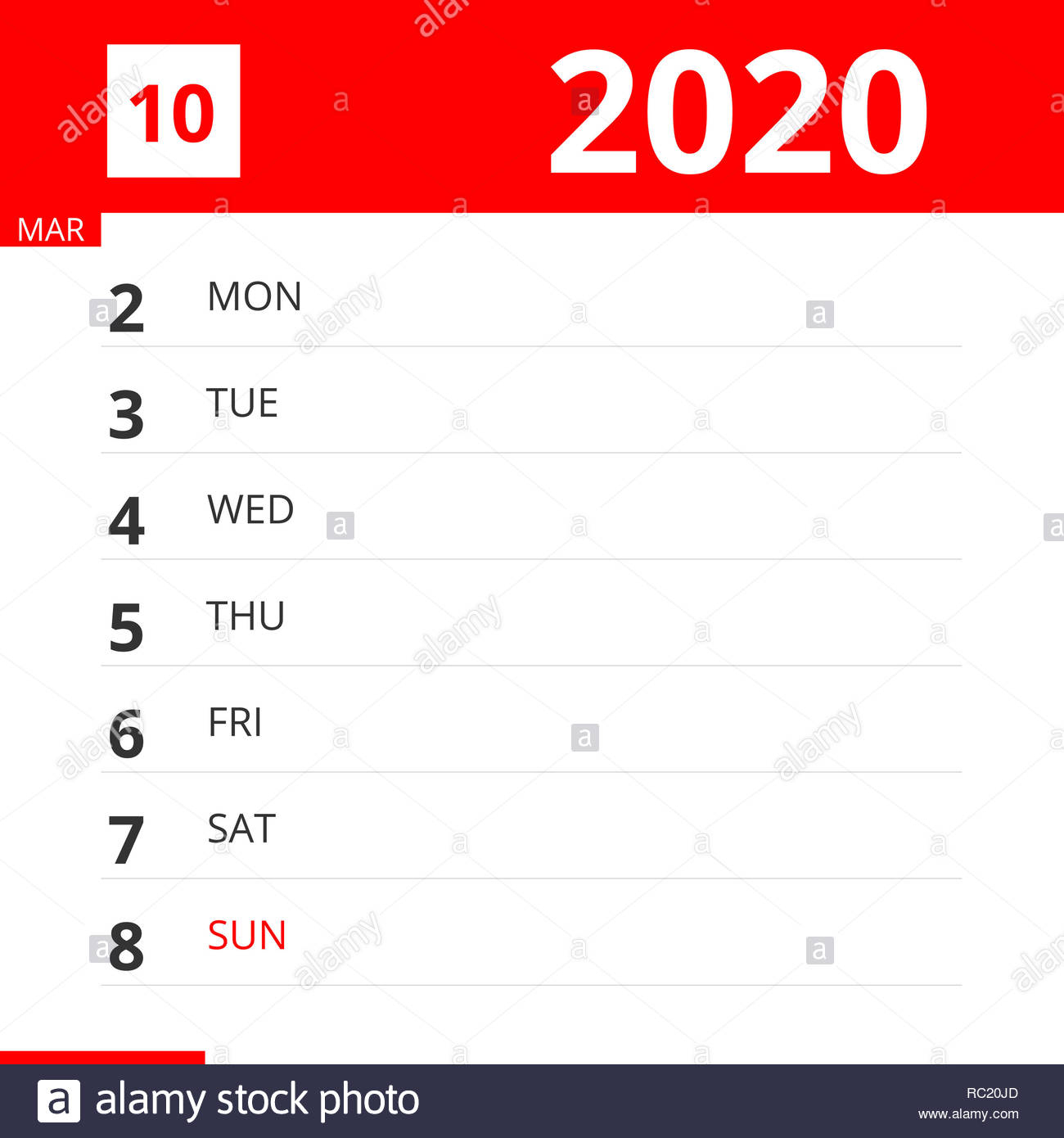 Calendar Planner For Week 10 In 2020, Ends March 8, 2020