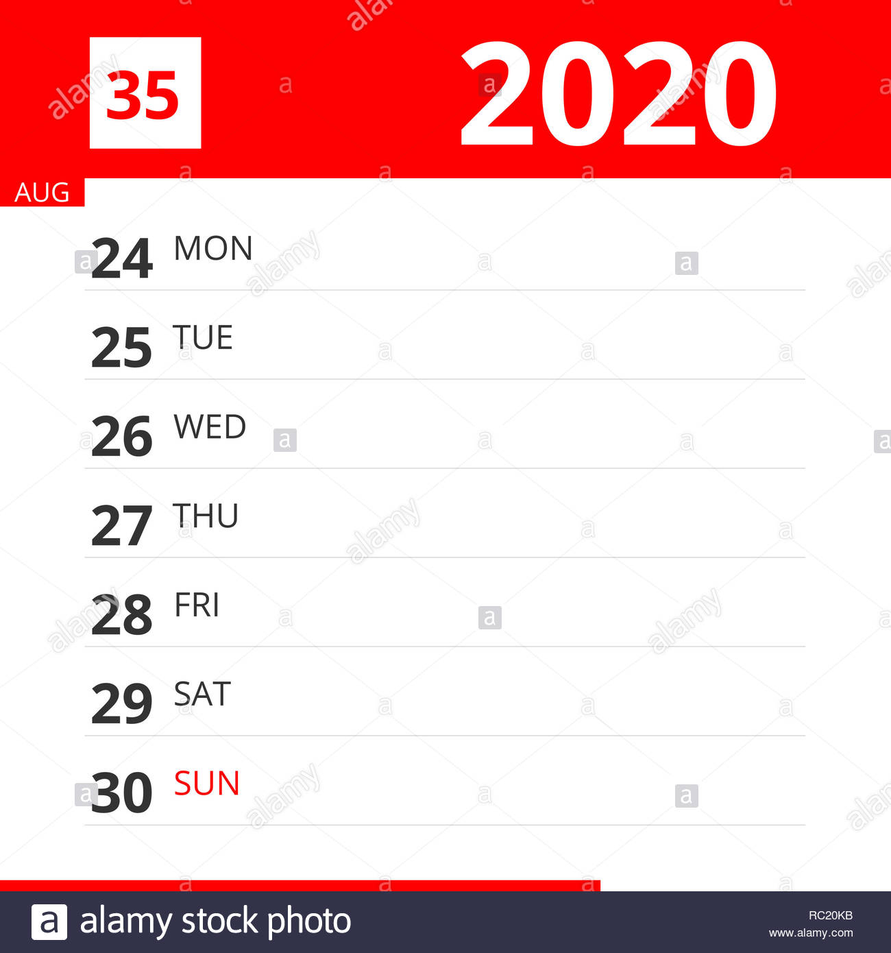Calendar Planner For Week 35 In 2020, Ends August 30, 2020