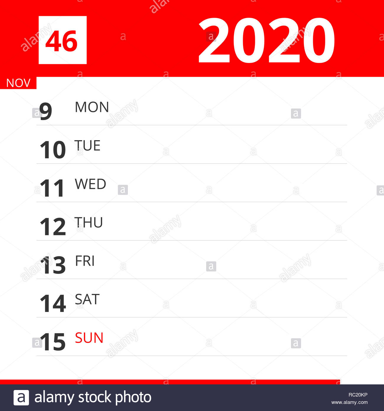 Calendar Planner For Week 46 In 2020, Ends November 15, 2020