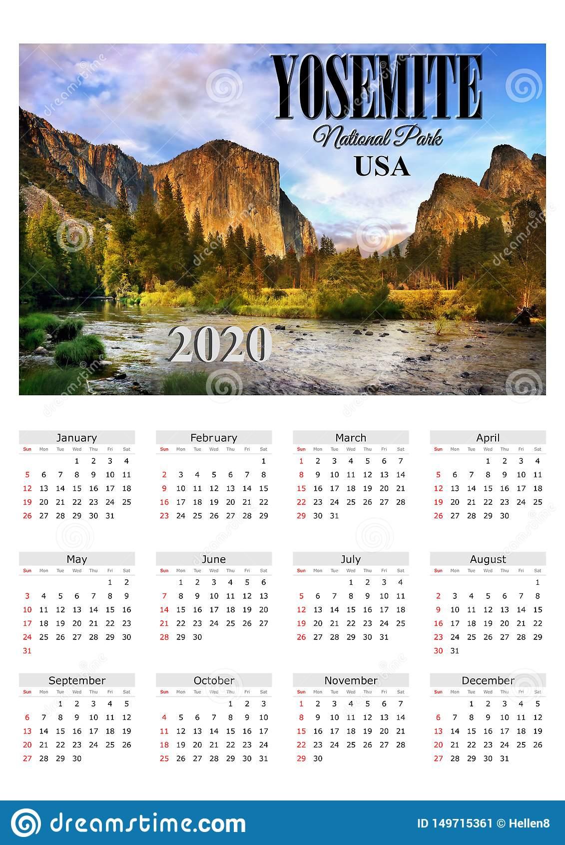 Calendar Poster 2020 Yosemite Np, Usa Stock Image - Image Of