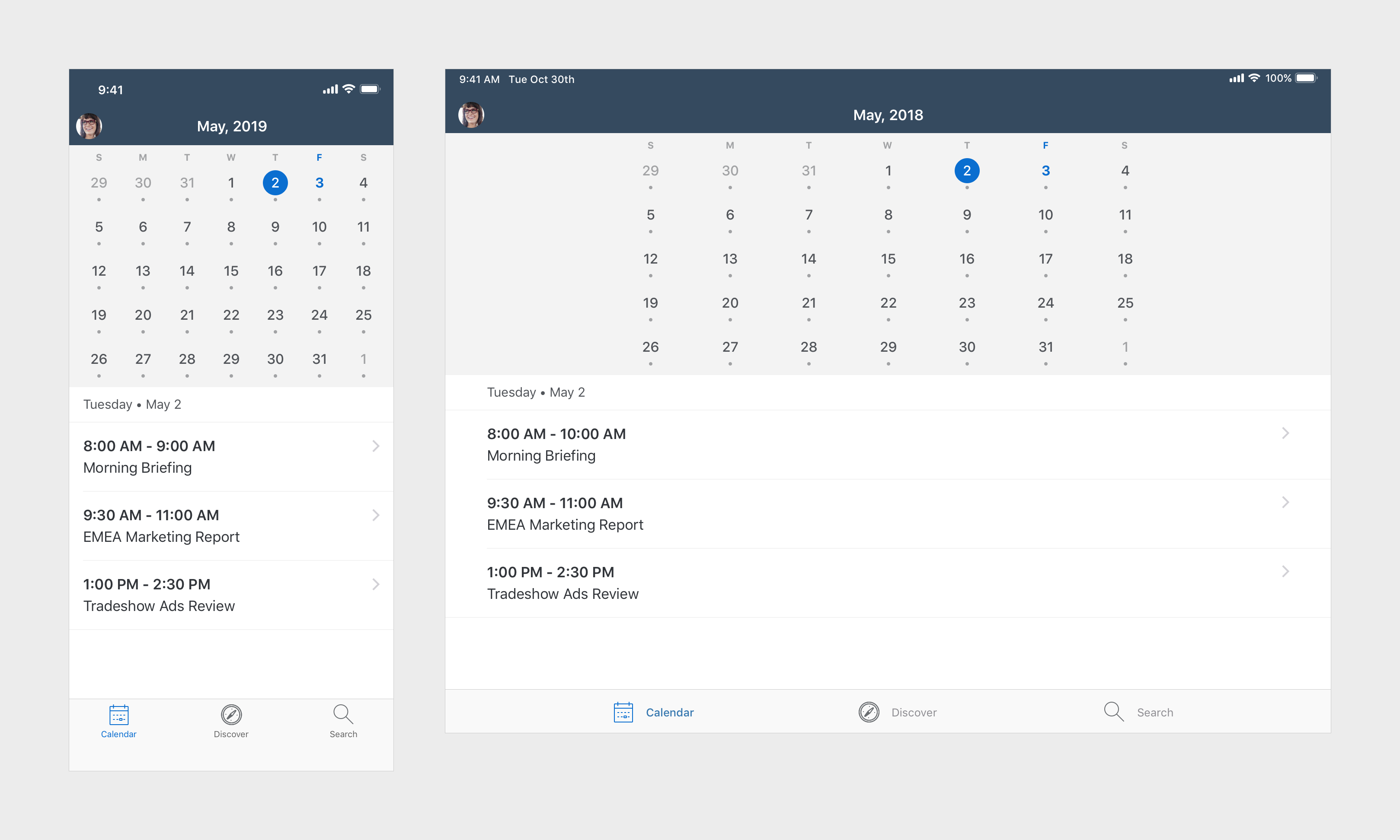 Calendar | Sap Fiori For Ios Design Guidelines