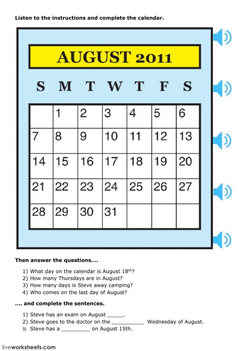 Calendar Skills - Interactive Worksheet