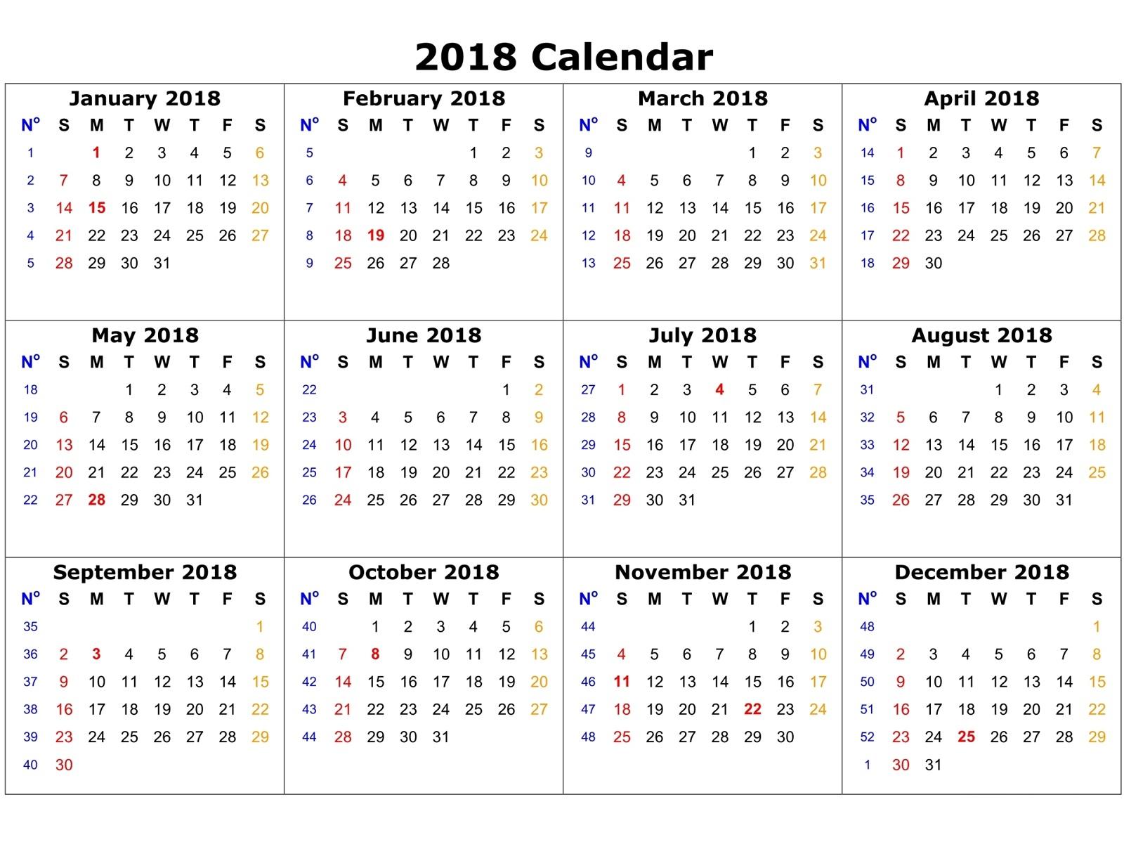 Calendar Template 2018 High Quality | Loving Printable