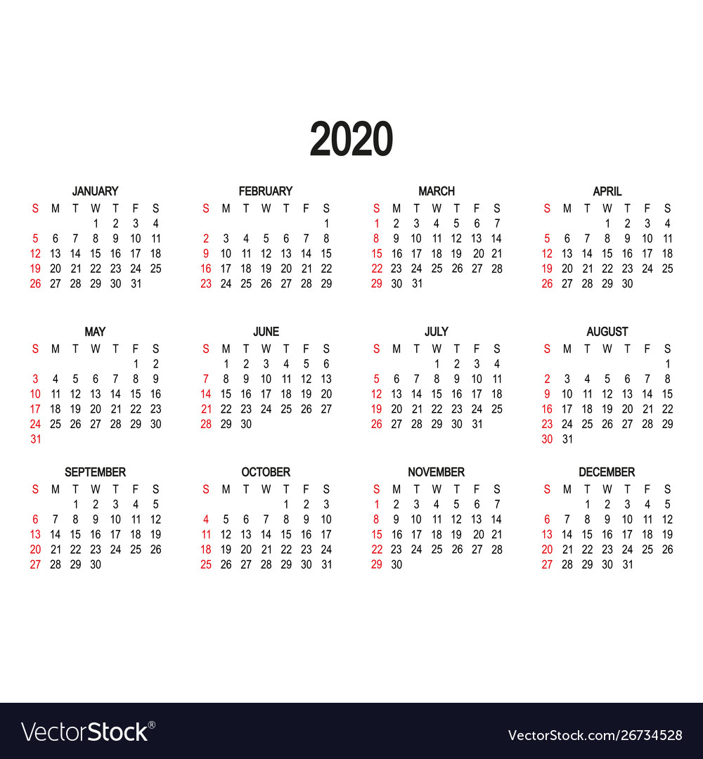 Calendar Template 2020 Day Week Starts