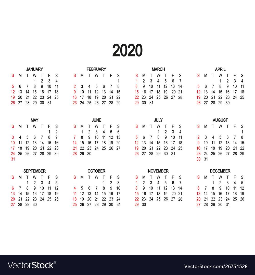 Calendar Template 2020 Day Week Starts
