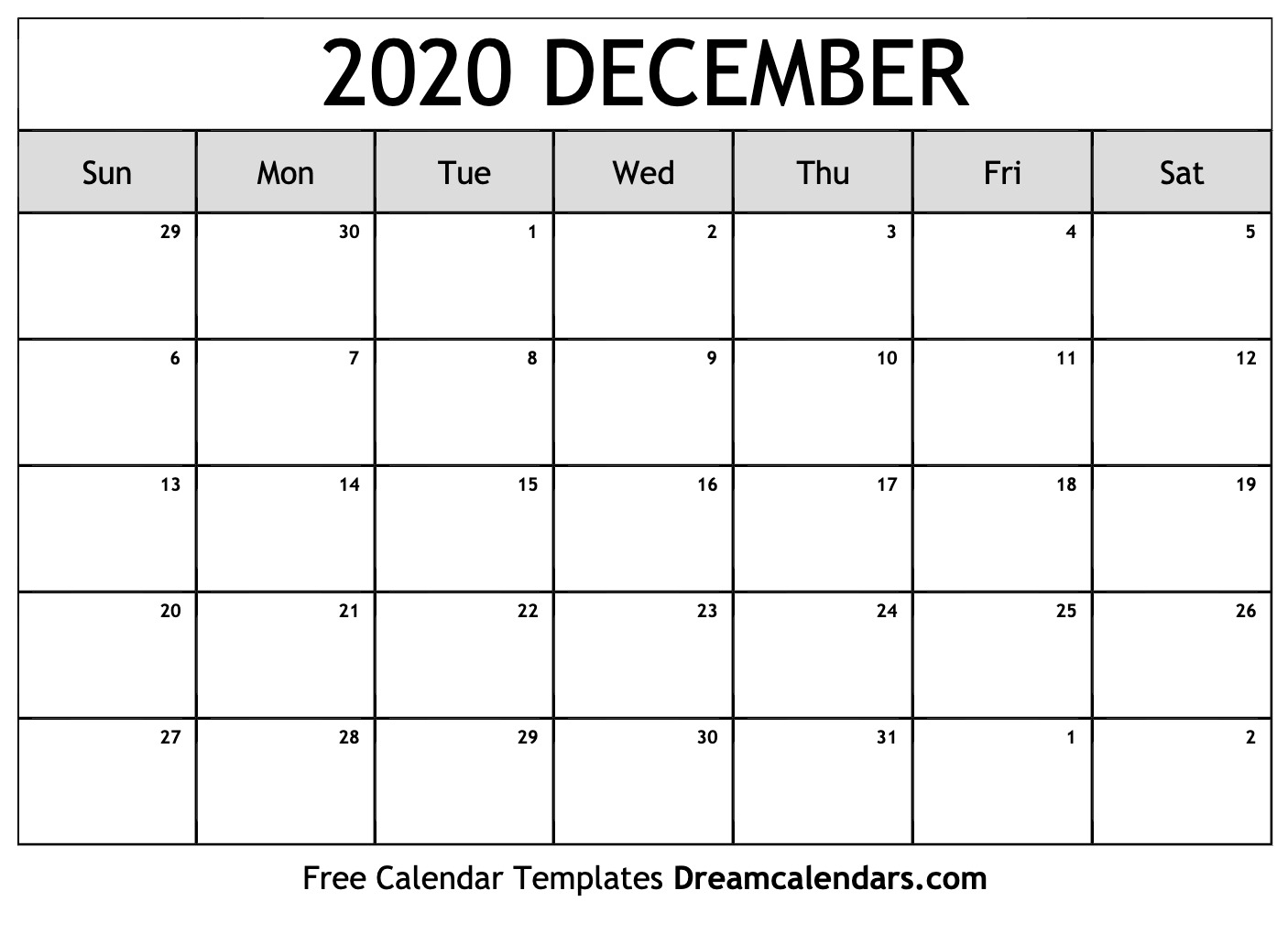 Calendar Template Dec 2020 - Wpa.wpart.co