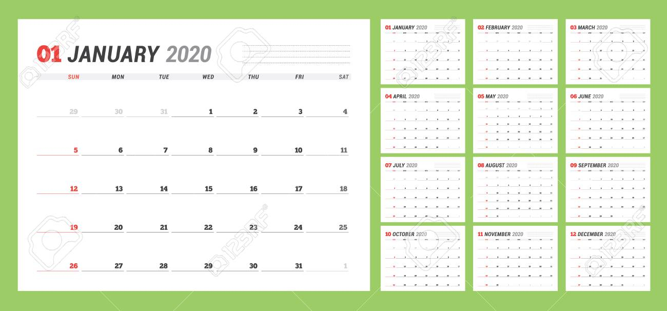 Calendar Template For 2020 Year. Business Planner. Stationery..