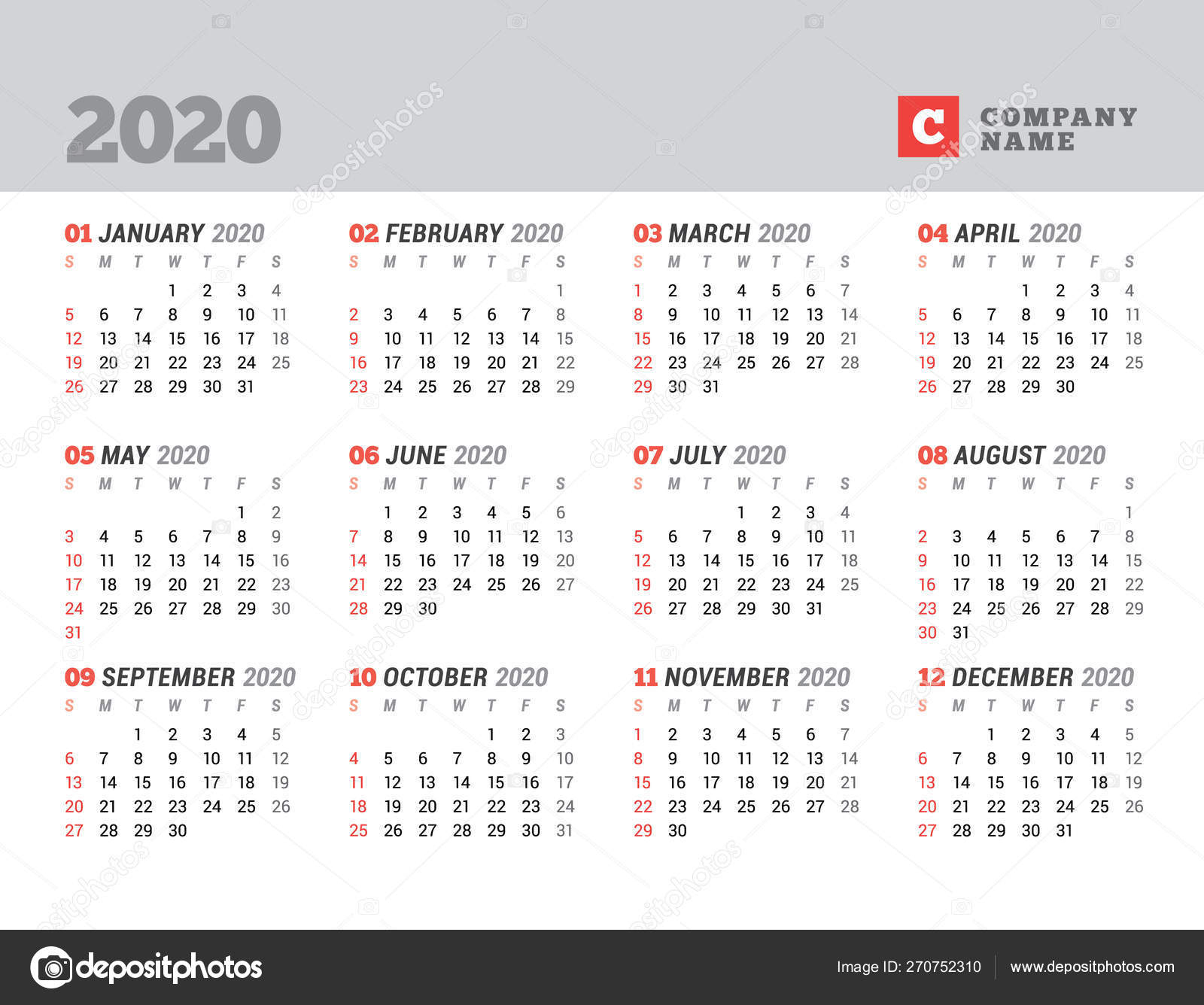 Calendar Template For 2020 Year. Stationery Design. Week