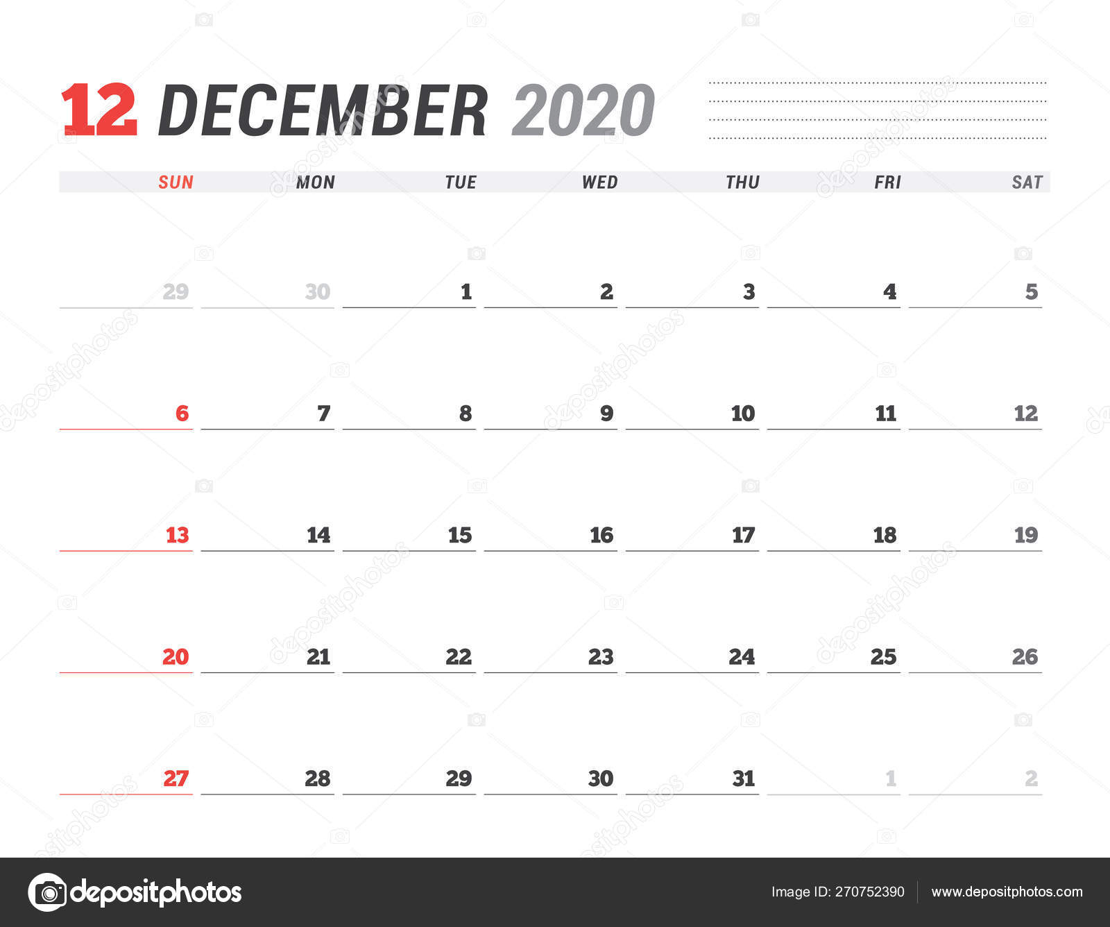Calendar Template For December 2020. Business Planner