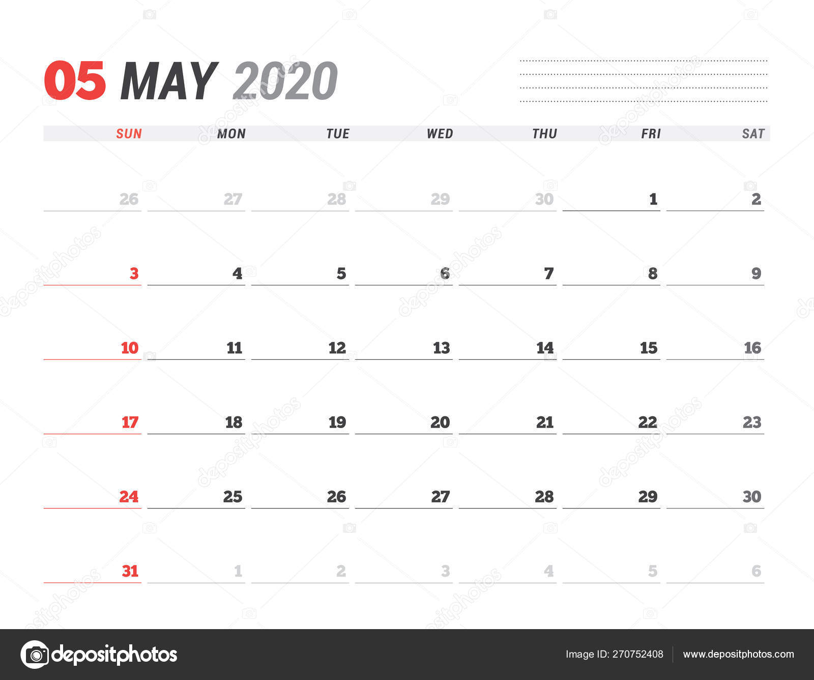 Calendar Template For May 2020. Business Planner. Stationery