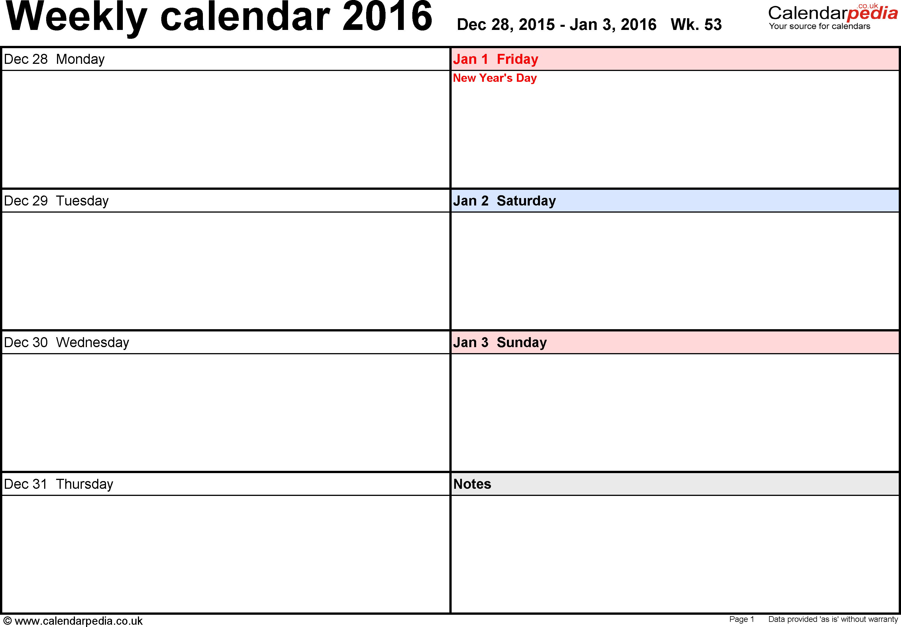 Calendar Templates - Calendarpedia.co.uk | Weekly Calendar