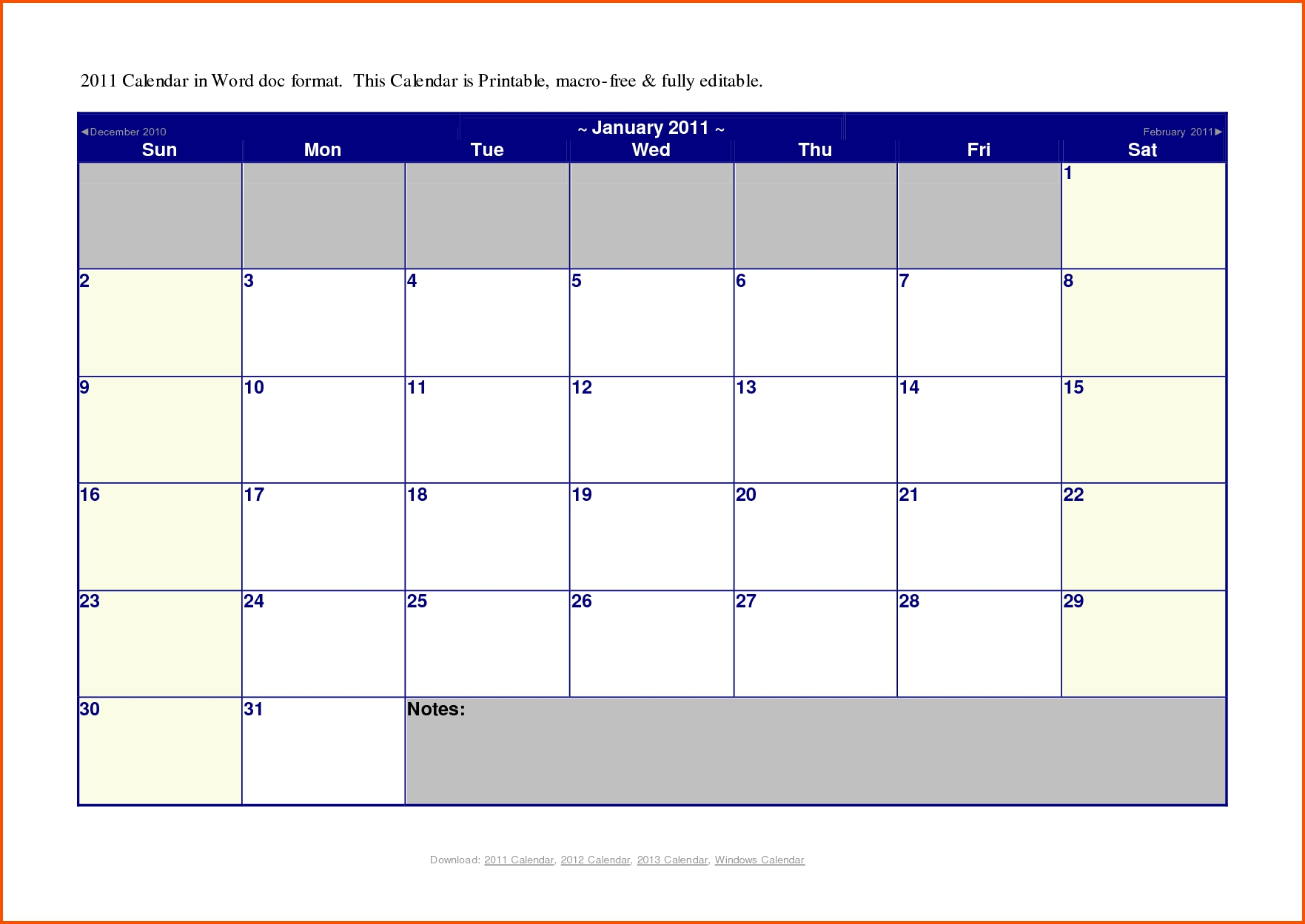 Calendar Templates For Microsoft Word - Wpa.wpart.co