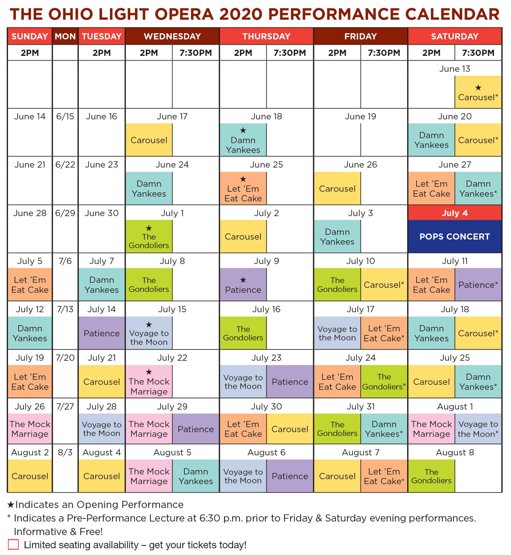 Calendar – The Ohio Light Opera
