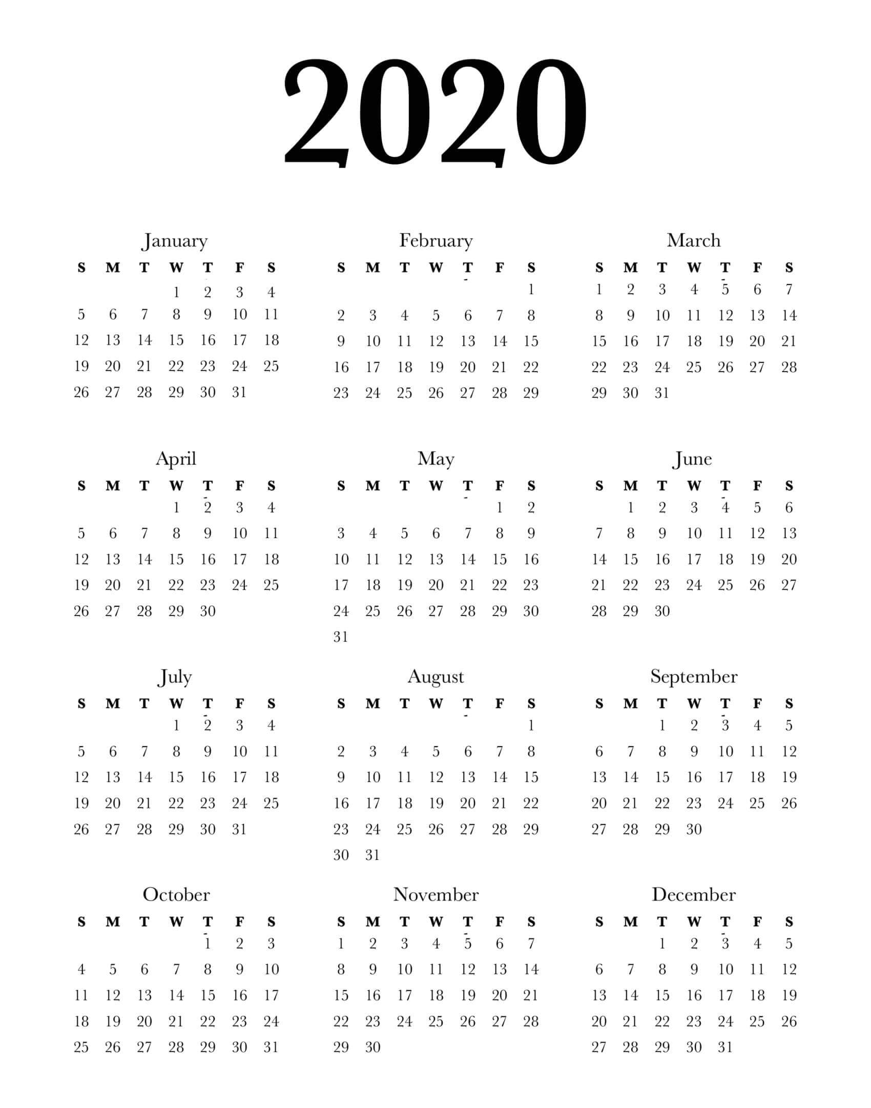 Calendar Year 2020 Holidays Template - 2019 Calendars For