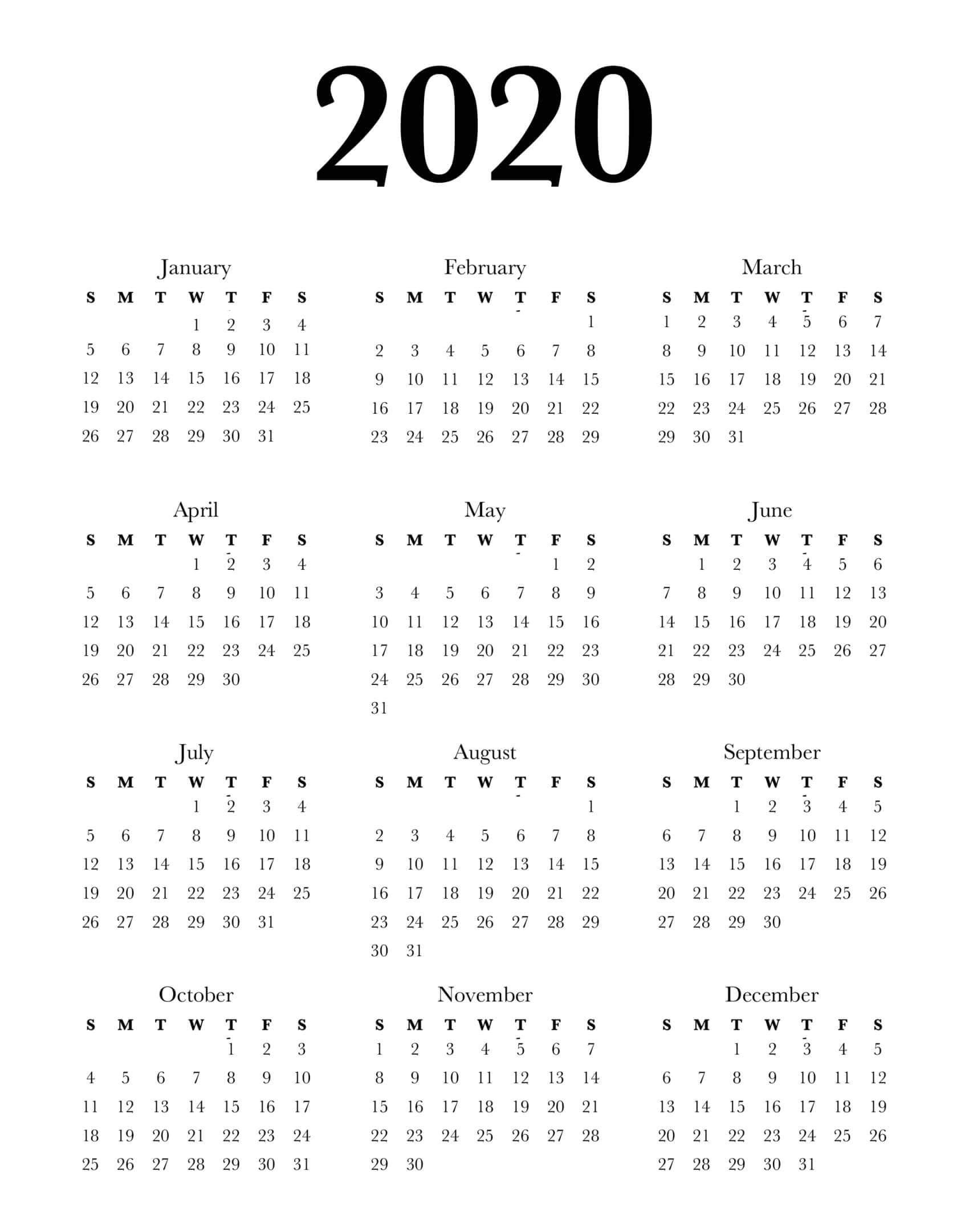 Calendar Year 2020 Holidays Template - 2019 Calendars For