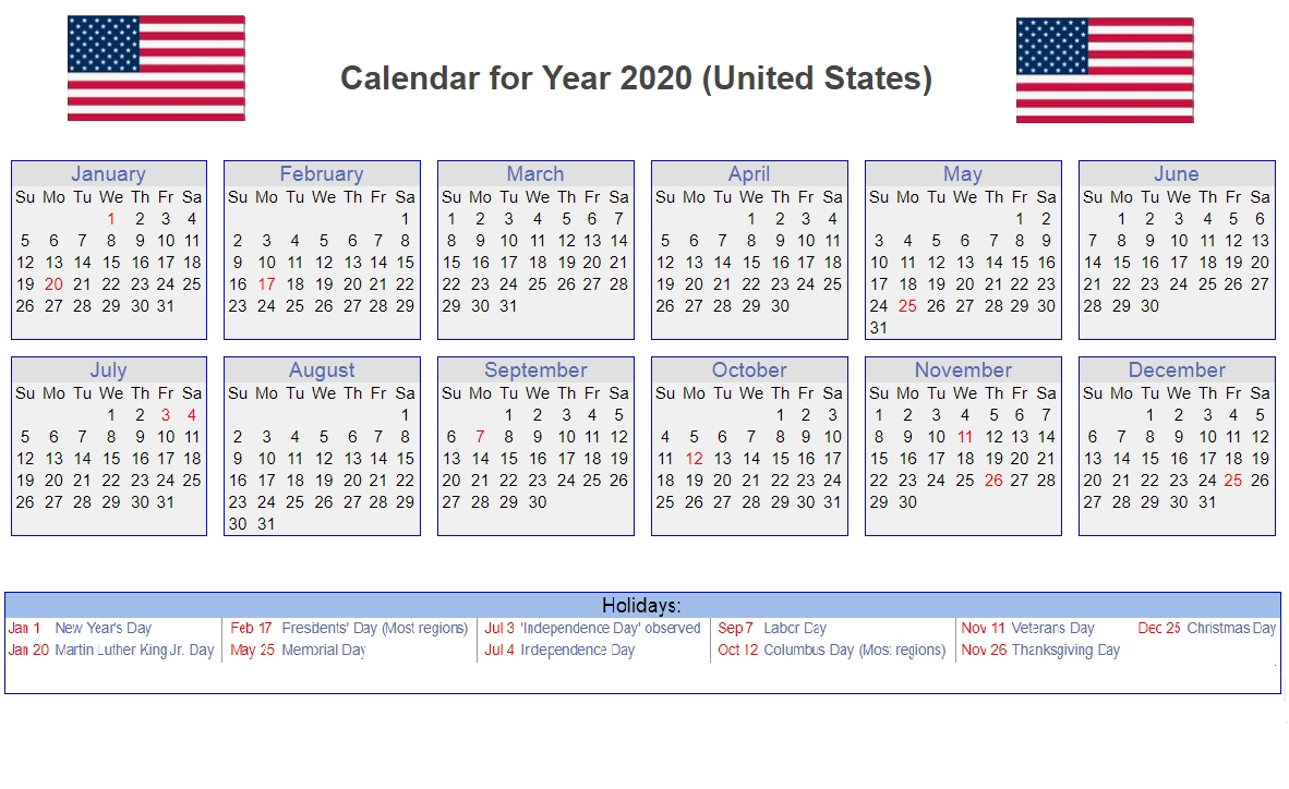 Calendar Year 2020 United States | Month Calendar Printable