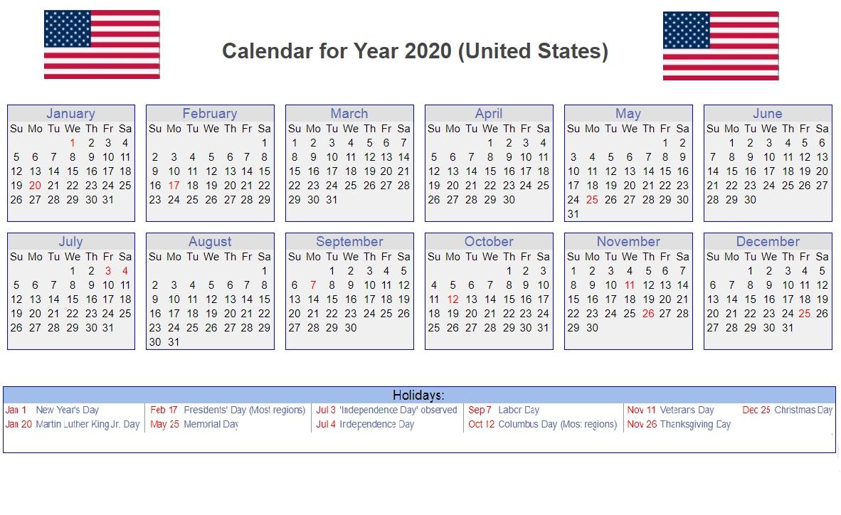 Calendar Year 2020 United States | Month Calendar Printable