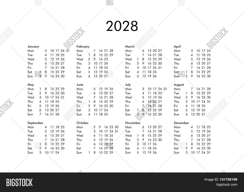 Calendar Year 2028 Image & Photo (Free Trial) | Bigstock