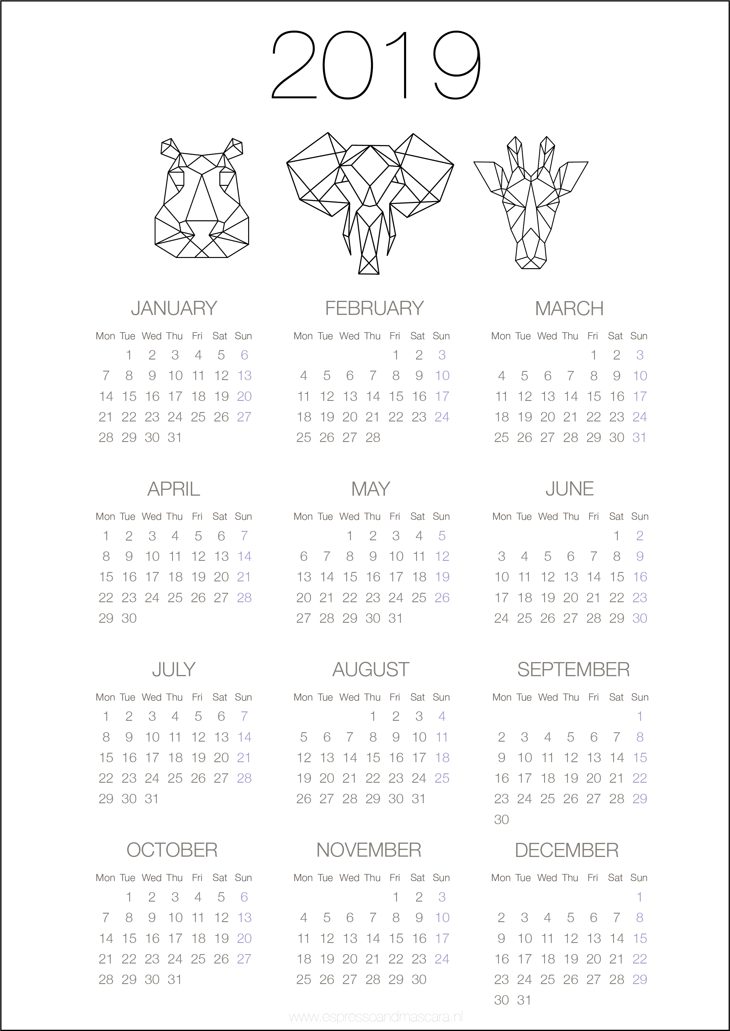 Calendars 2019 – Free Download | Календарь | Calendario Para
