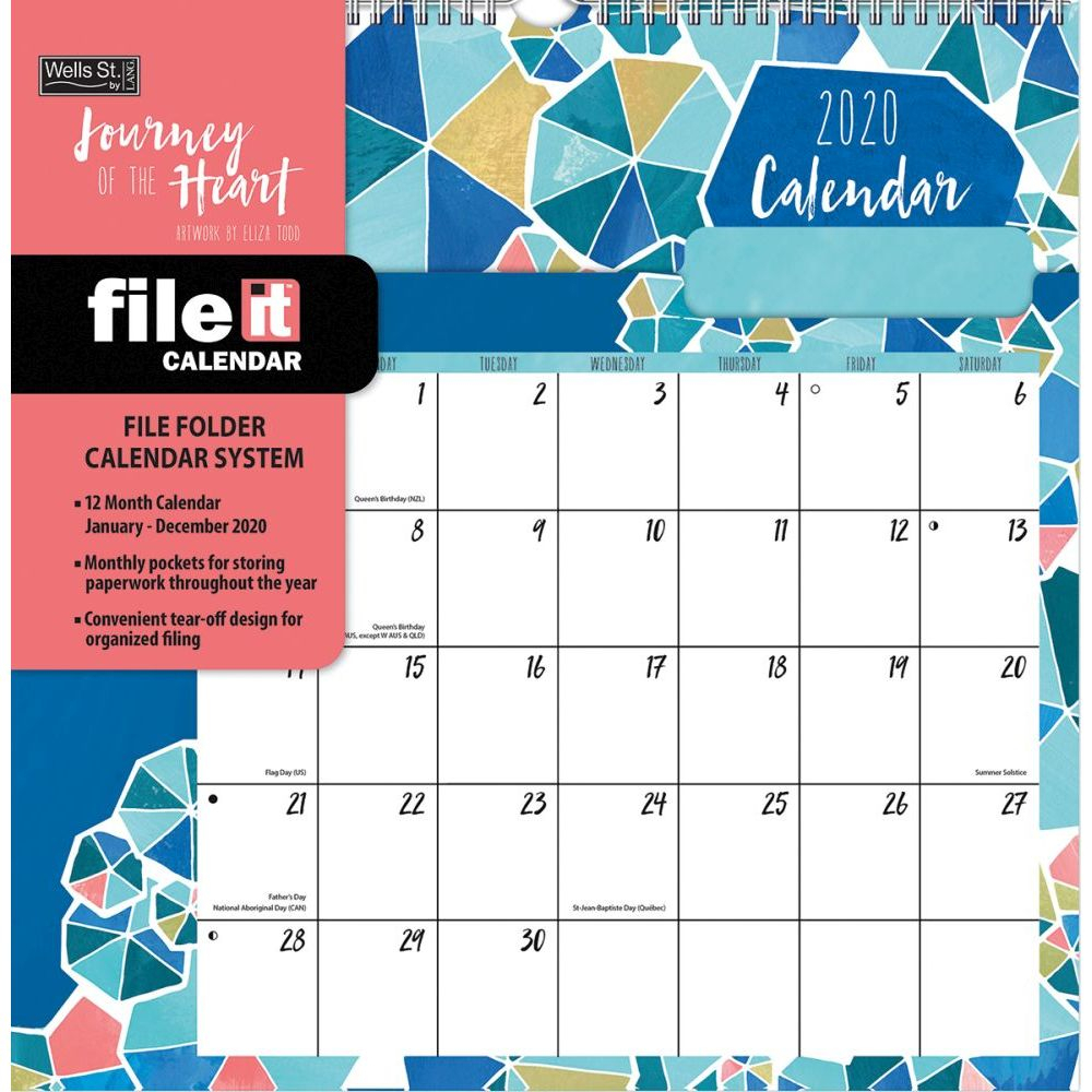 Calendars Journey Of The Heart File It Wall Calendar Fsc Certified Paper  Full Color Pages - All Major Holidays
