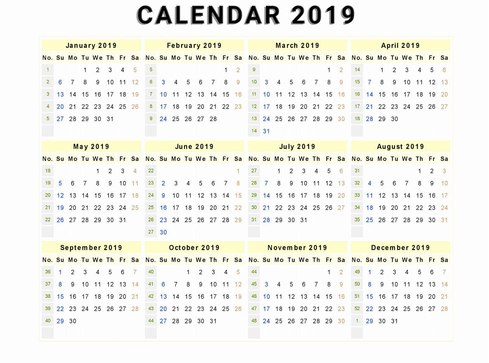 Canada 2019 12 Months Calendar | Printable Calendar Template