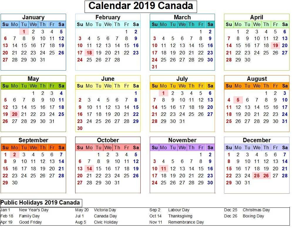 Canada 2019 Calendar With Holiday Colorful | 2019 Calendar