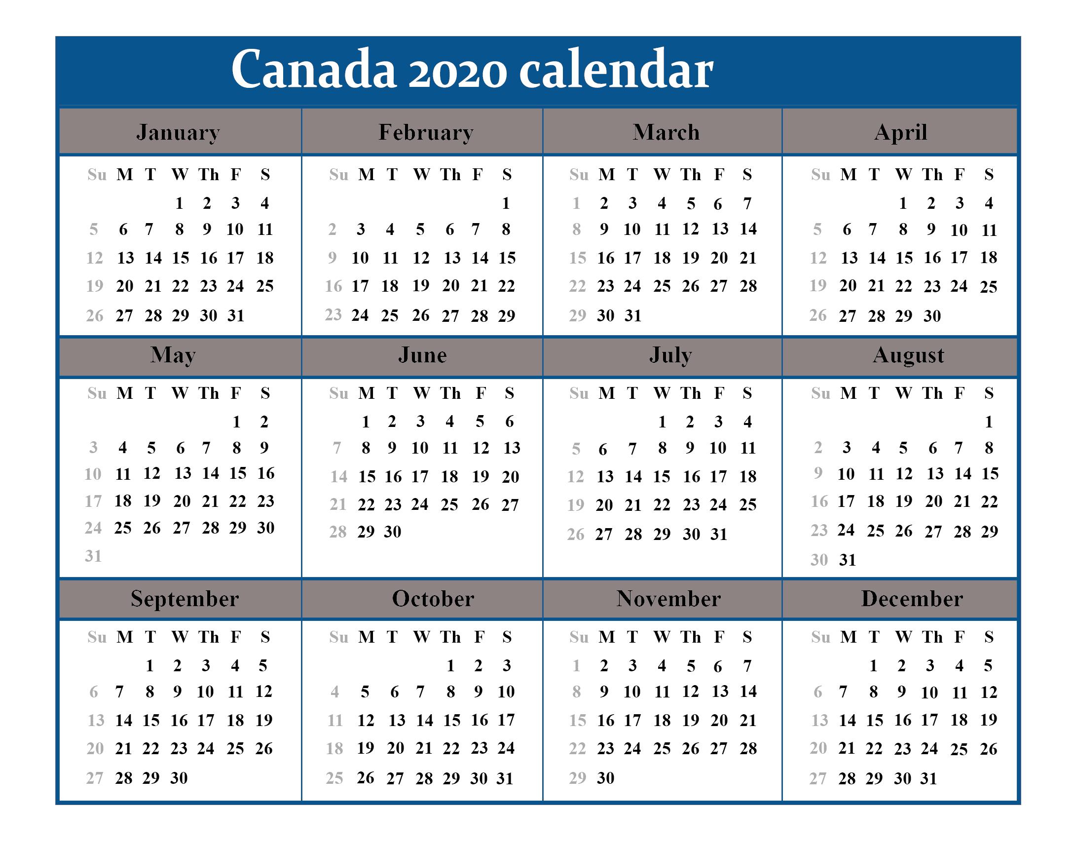 Canada 2020 Calendar | Best Printable Calendar