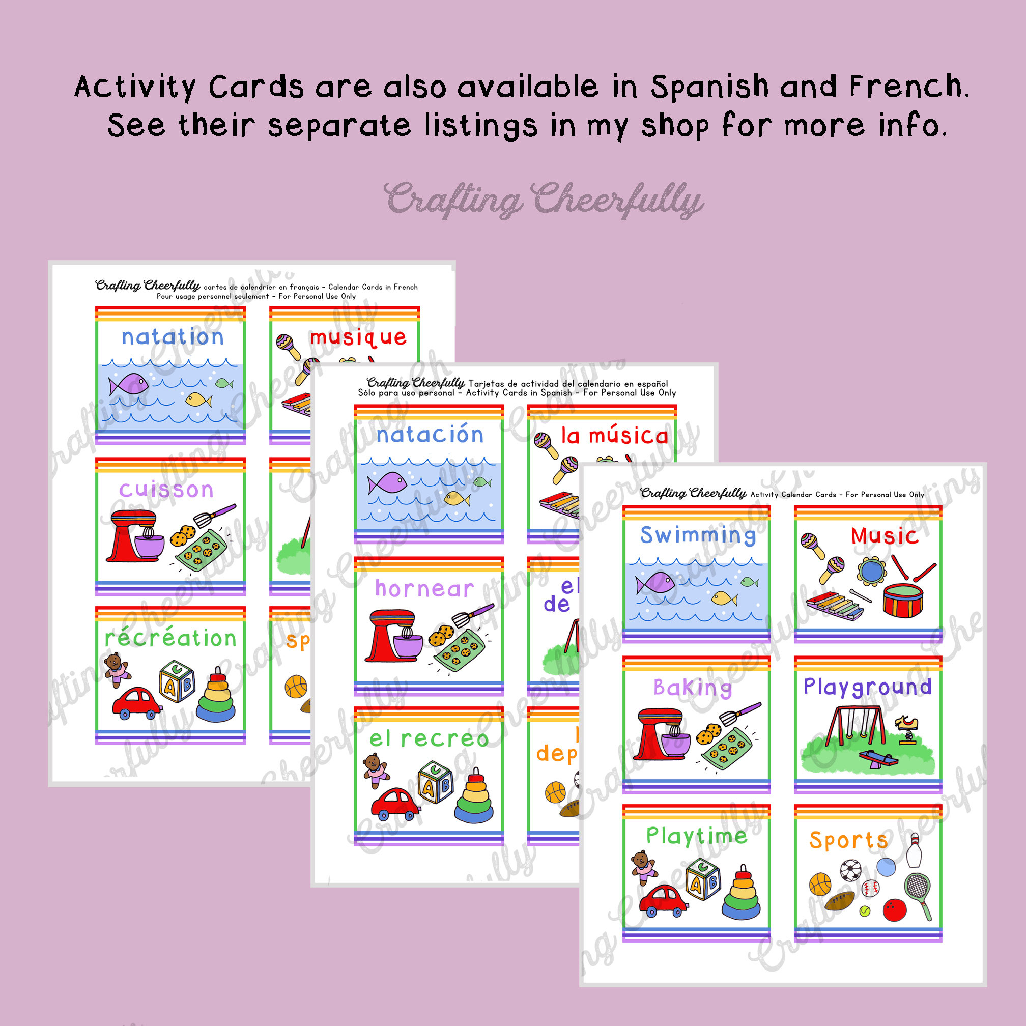 Children's Calendar Activity Cards, Pocket Chart Calendar