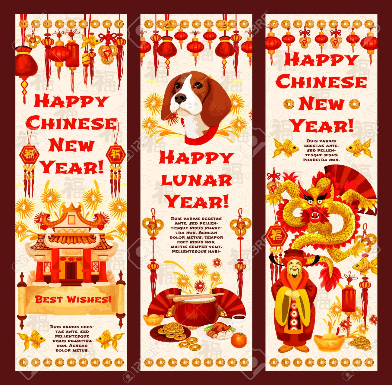 Chinese New Year Banner Of Asian Lunar Calendar Holiday. Dragon,..