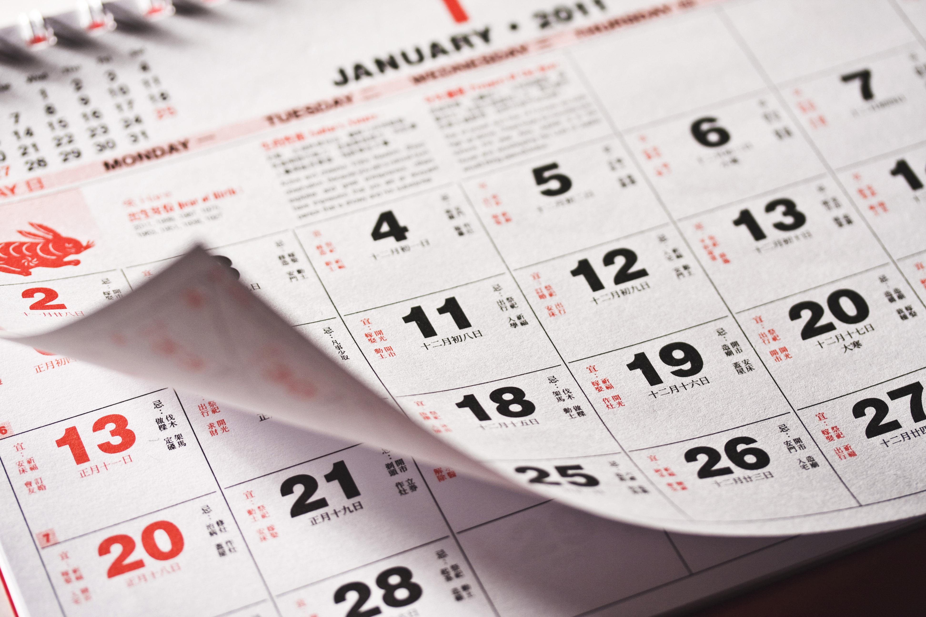 Chinese New Year Calendar 2020